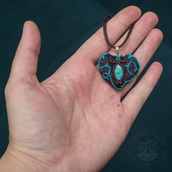 2 Feather pendant imitation  turquoise silver tone B327
