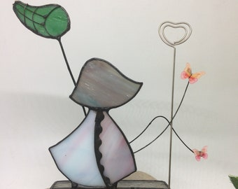 Photo holder  boy or girl with butterflies