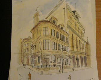 Yorkshire Building (Bradford) A4 signed by artist Martin James conquest