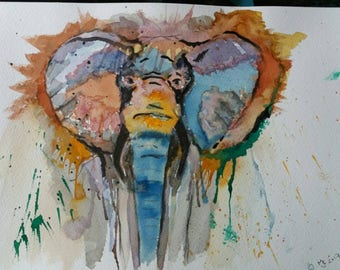 Wonderful  Abstract painting of a wild Elephant on A4 watercolour paper.