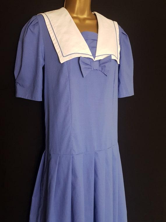 Vintage Laura Ashley Blue White Sailor Style Dres… - image 1