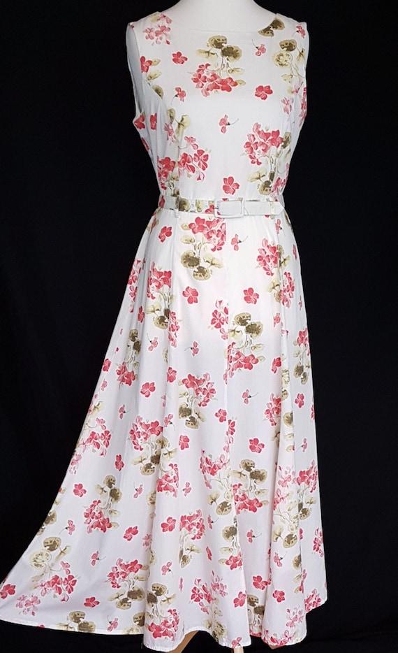 Vintage Laura Ashley Sundress Size UK 12 White Red