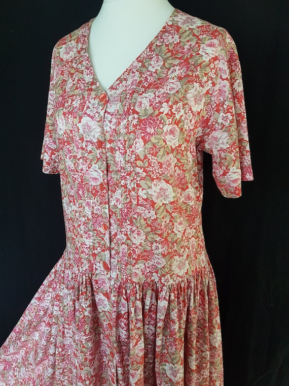Laura Ashley Vintage Dress UK 14 Summer Pink Flora