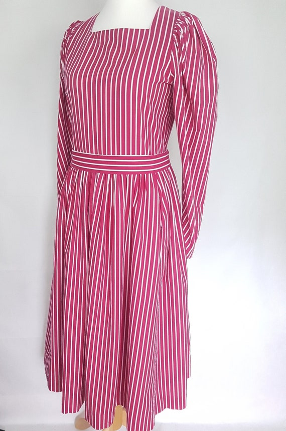 Vintage Laura Ashley Dress UK 14 Pink and White St
