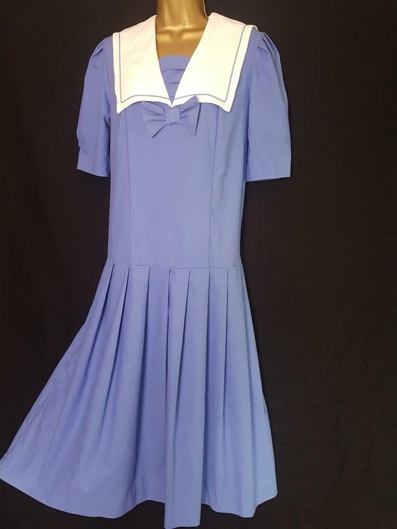 Vintage Laura Ashley Blue White Sailor Style Dres… - image 2