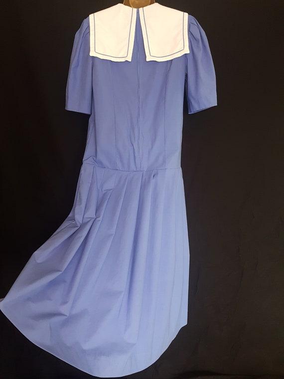 Vintage Laura Ashley Blue White Sailor Style Dres… - image 5