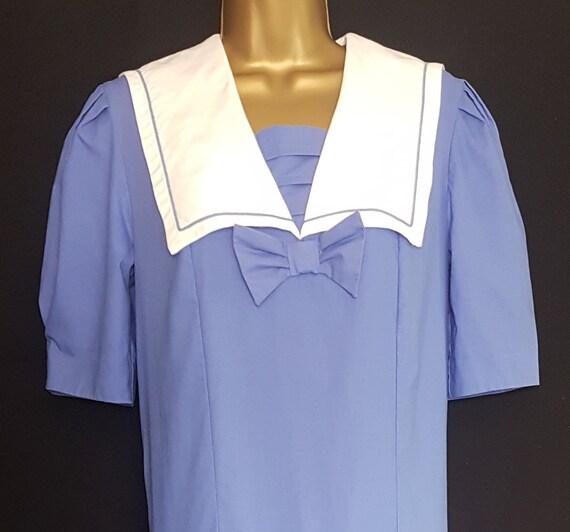 Vintage Laura Ashley Blue White Sailor Style Dres… - image 3