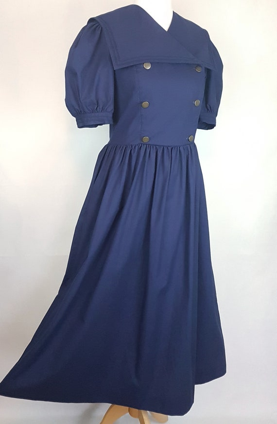 Laura Ashley Navy Blue Dress with 'Sailor Style' C