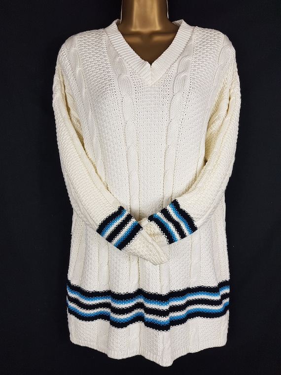 Vintage Laura Ashley Cream Cable Knit Cricket Styl