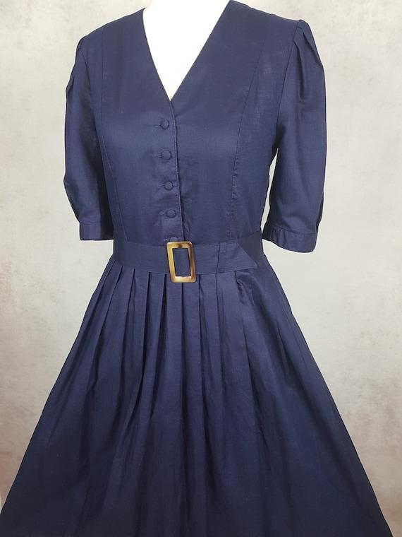 Vintage Laura Ashley Navy Belted Summer Ocassion D