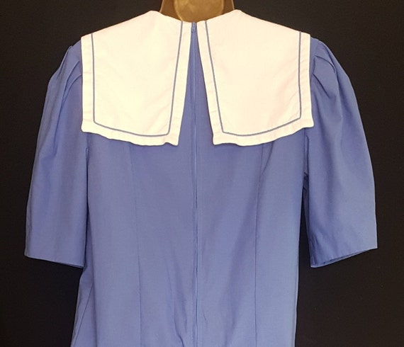 Vintage Laura Ashley Blue White Sailor Style Dres… - image 6