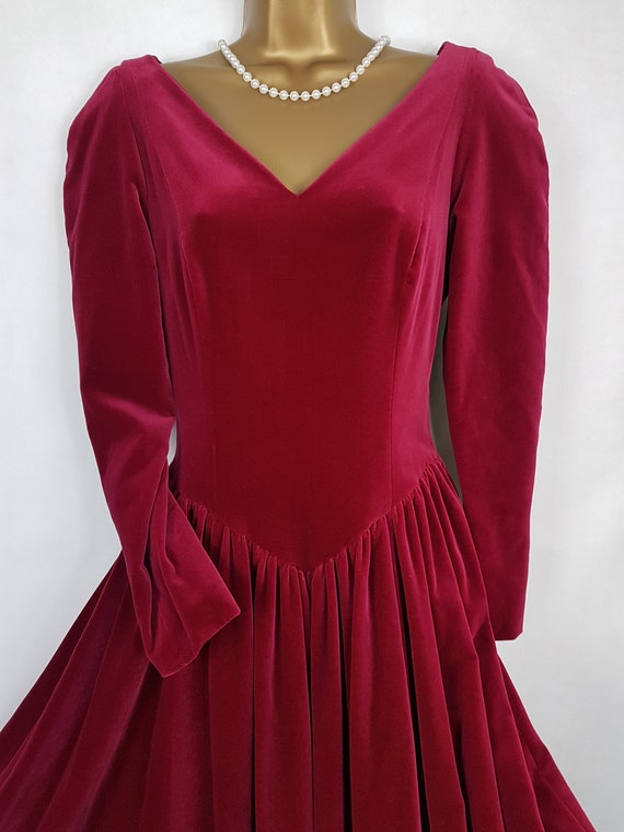 Vintage Raspberry Red Velvet Dress from Laura Ashl