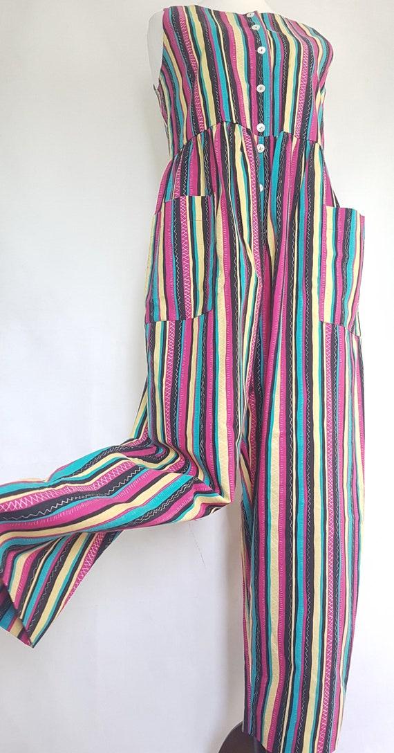 Laura Ashley Medium Bright Striped Jumpsuit