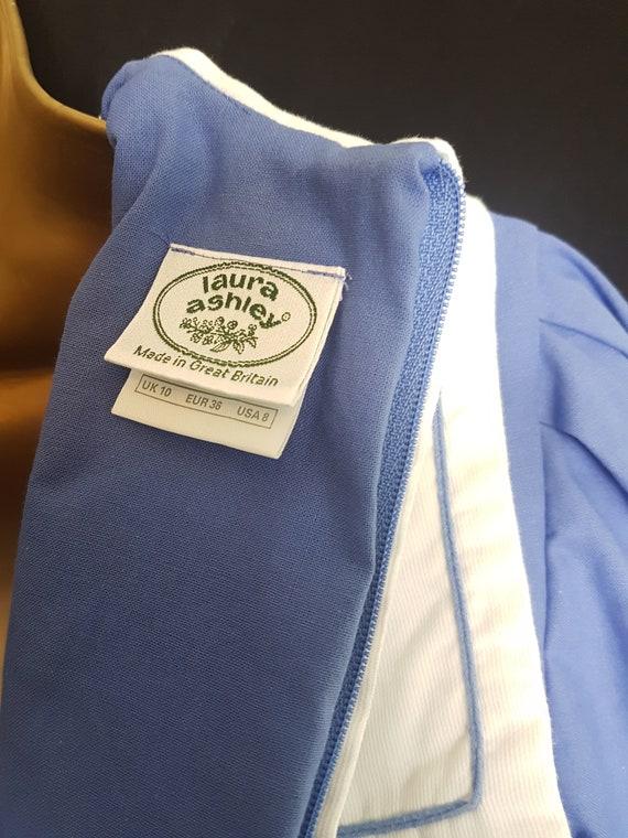 Vintage Laura Ashley Blue White Sailor Style Dres… - image 7