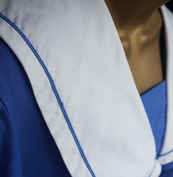 Vintage Laura Ashley Blue White Sailor Style Dres… - image 9