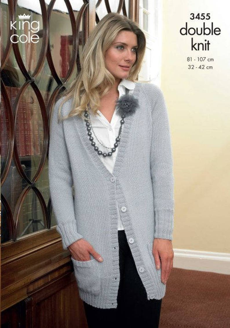 ab0cff1b3 King Cole Ladies Long Cardigan and Sweater Double Knitting DK