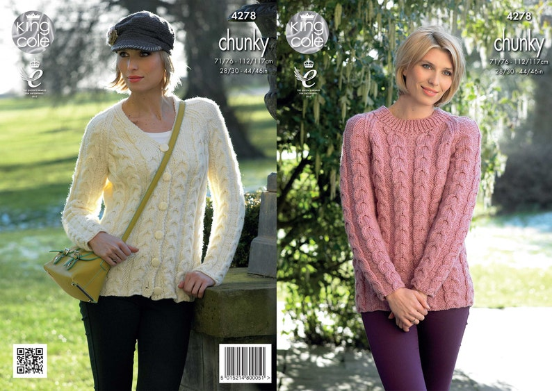 12643172b Cabled Raglan Cardigan   Sweater Knitted with Magnum Chunky