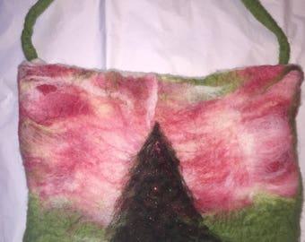 Handmade felted Christmas tree purse