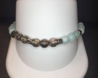 Sterling Silver Green and Smoky Quartz Beaded Bracelet