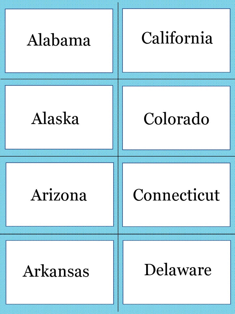 graphic relating to States and Capitals Flash Cards Printable named US Claims and Capitals Flashcards