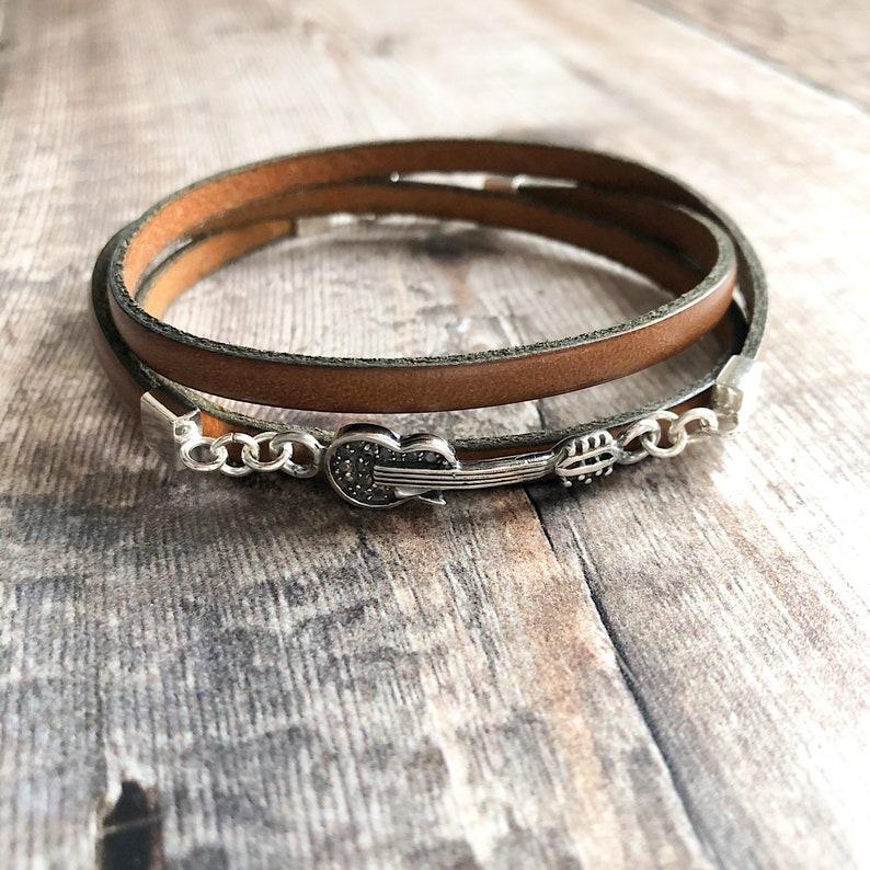 Leather Wrap Bracelet Sterling Silver /& Leather Bracelet Sideways Guitar Bracelet Guitar Jewellery Silver Guitar Bracelet Gift for men