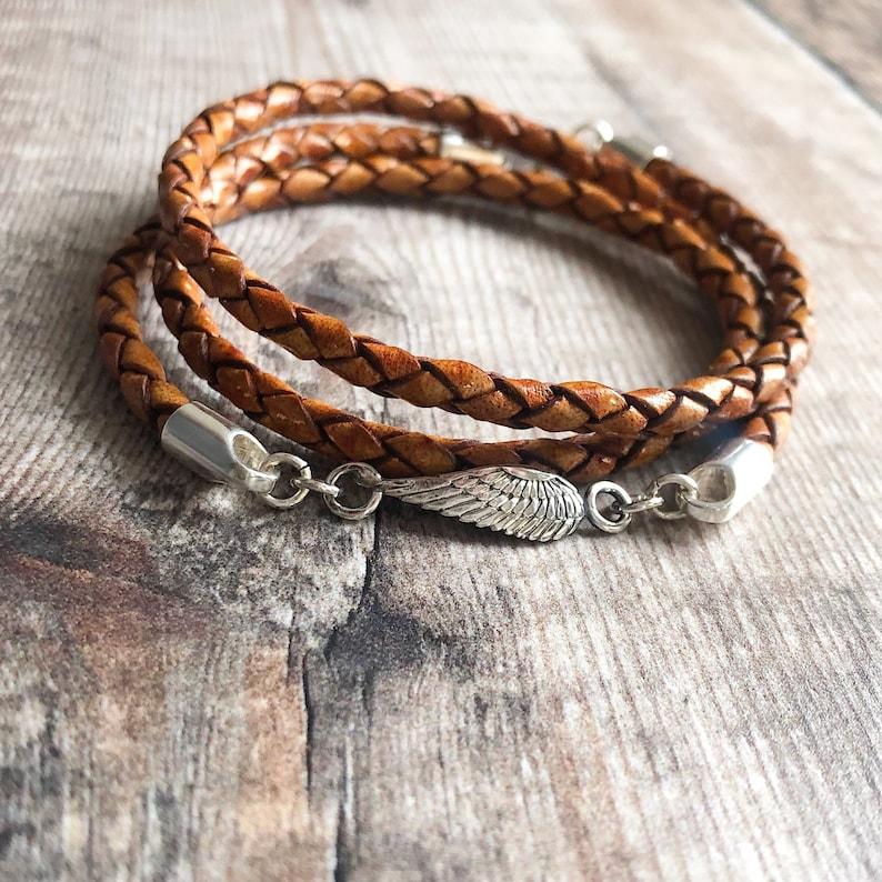 Sterling Silver /& Leather Bracelet Leather Wrap Bracelet Braided Leather Bracelet Angel Wing Jewellery Sideways Angel Wing Bracelet