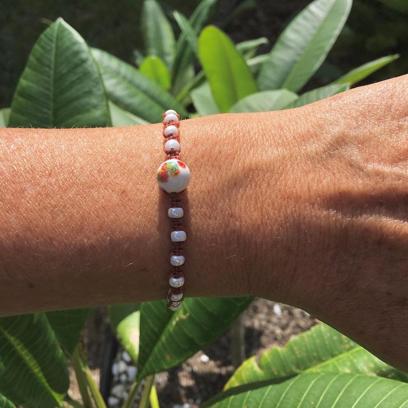Ivory Pearl Miyuki Seeds Beads Macram\u00e9 Adjustable Bracelet for Girlfriend Mom Gifts Vintage Japanese Millefiori Glass Focal