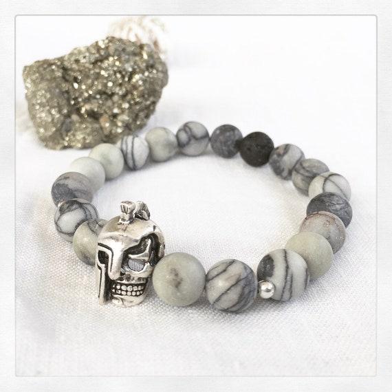 Men/'s Black Lava Rock /& Gris JASPER STONE avec casque stretch perles Bracelet