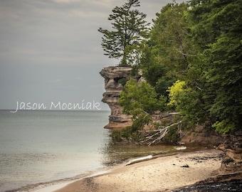 Chapel Rock Print / Pictured Rocks National Lakeshore / Michigan Landscape Photography