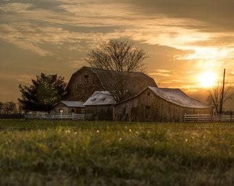 Farm Sunset Barn Print / Rural Michigan Photography