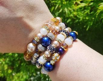 Blue, Gold, Cream, Champagne, Purple and Cognac Bracelet Set