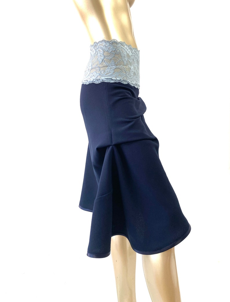 Flamenco style skirt .Daywear FLAIR SKIRT in NAVY .Steampunk style skirt