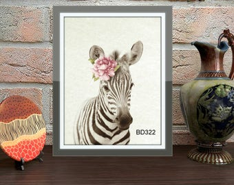 zebra print,zebra digital print,zebra with rose,animal prints,safari print,animal wall art