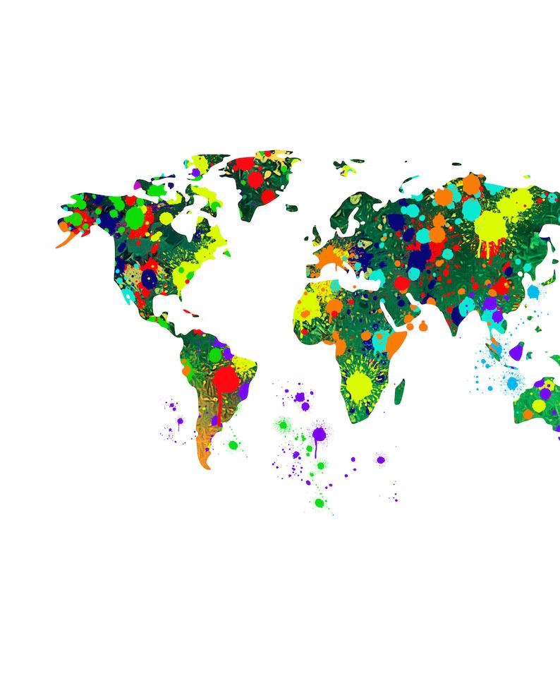 World map watercolor splash print. world map wall art world map poster World map watercolor splash world map art poster of world map