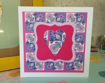 Handmade card. Original. Retro heart, pink border. Greeting card, blank suitable for any occasion. Birthday, Wedding, Valentines day.