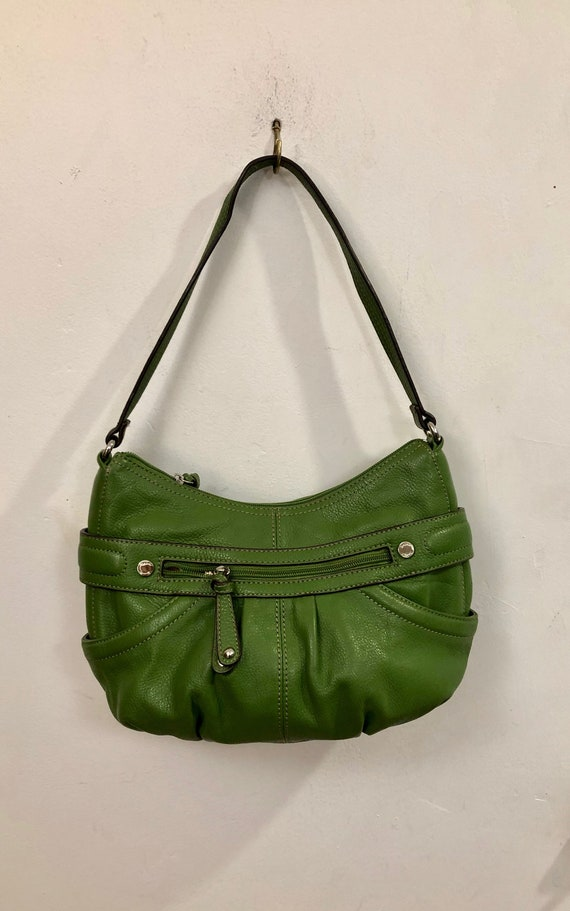 Tignanello - A lime green pebbled leather shoulder