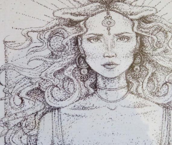 Circe Art A4 Framed Artwork The Odyssey Greek Goddess Art Framed Drawing Dotwork Pointillism Ink Framed Art