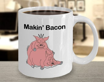 0faa6b16 Makin Bacon Mug - Funny Make n Bacon Pigs Cup Makin Bacon Coffee Mug Gift