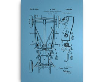 Ford auto chassis on blue walpaper Canvas