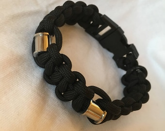 Black Paracord Bracelet with Stainless Steel Barrel Beads