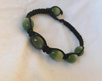 Translucent Green Bead Black Bamboo Bracelet