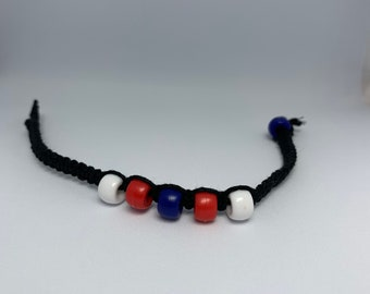 Red, White and Blue Pony Bead Macramé Bracelet