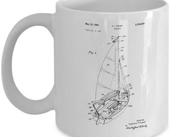 sailboat patent mug, gift for sailor, gifts for sailors, boating gifts, nautical theme, sailboat, sailboat mug, sailboats mug, sailing mug