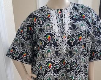 Top tunique imprimé à la main, brodé, africaine, chemise, carte, Talking  Drum, palmiers 606cf29f585