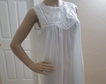 bbb4aa29a3 Vintage Style Pale Blue Embroidered and Lace Trim Nightgown by Character  Semi-sheer