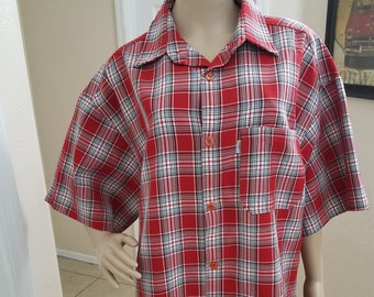 706c58031 Classic Red Plaid, Button Front, Short Sleeve Men's Shirt Rockabilly,  Casual Fridays, Summer Wardrobe, Skater, 1990's, Big and Tall