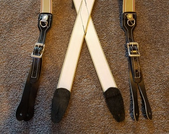 Heavy Duty, Punk, Hipster Suspenders, Braces with Leather Buckles by Wright Enterprises