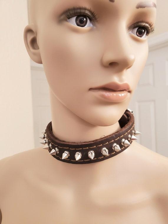 Dark Brown, Spiked Leather Collar, Choker, Goth, F