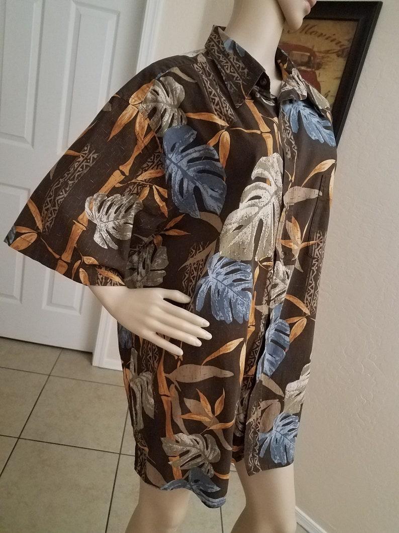 Boys Night Brown Luau Island Getaway Vegas 100/% Cotton Beach Vacation Blue and Orange Hawaiian Style Floral Print Men/'s Shirt