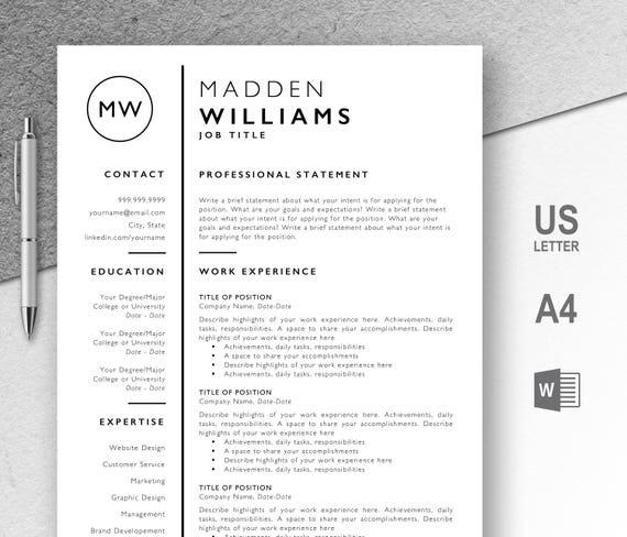 Del Resume Cv Curriculum Vitae Modello Professionale Etsy